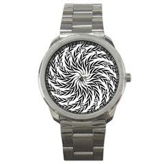 Spiral Leafy Black Floral Flower Star Hole Sport Metal Watch by Mariart