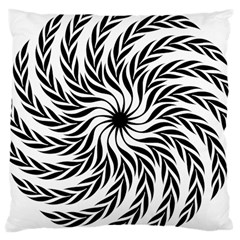 Spiral Leafy Black Floral Flower Star Hole Large Cushion Case (one Side) by Mariart