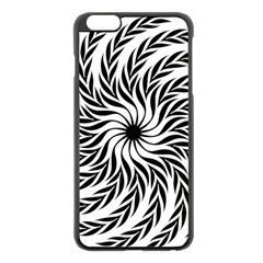 Spiral Leafy Black Floral Flower Star Hole Apple Iphone 6 Plus/6s Plus Black Enamel Case by Mariart
