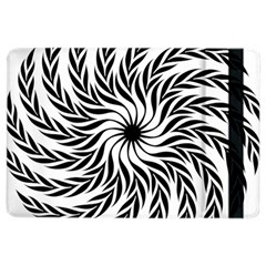 Spiral Leafy Black Floral Flower Star Hole Ipad Air 2 Flip by Mariart