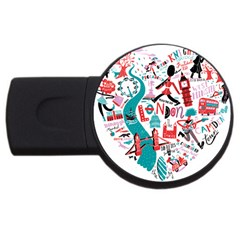 London Illustration City Usb Flash Drive Round (4 Gb) by Mariart