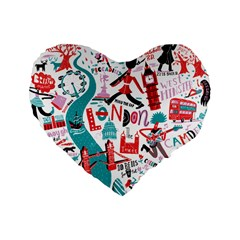 London Illustration City Standard 16  Premium Heart Shape Cushions by Mariart