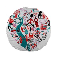London Illustration City Standard 15  Premium Flano Round Cushions by Mariart