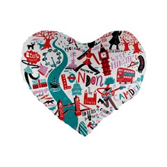 London Illustration City Standard 16  Premium Flano Heart Shape Cushions by Mariart
