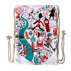 London Illustration City Drawstring Bag (large) by Mariart