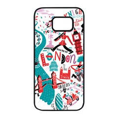 London Illustration City Samsung Galaxy S7 Edge Black Seamless Case by Mariart