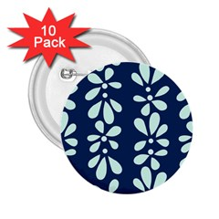 Star Flower Floral Blue Beauty Polka 2 25  Buttons (10 Pack)