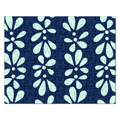 Star Flower Floral Blue Beauty Polka Rectangular Jigsaw Puzzl by Mariart