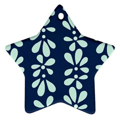Star Flower Floral Blue Beauty Polka Star Ornament (two Sides) by Mariart