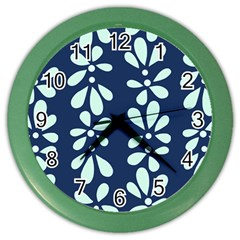 Star Flower Floral Blue Beauty Polka Color Wall Clocks by Mariart