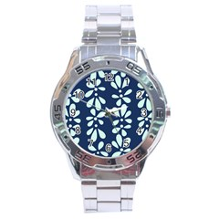 Star Flower Floral Blue Beauty Polka Stainless Steel Analogue Watch by Mariart