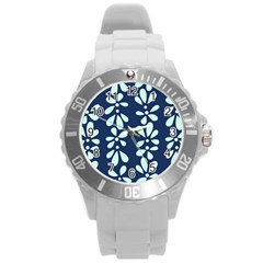 Star Flower Floral Blue Beauty Polka Round Plastic Sport Watch (l) by Mariart