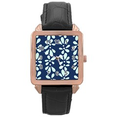 Star Flower Floral Blue Beauty Polka Rose Gold Leather Watch  by Mariart