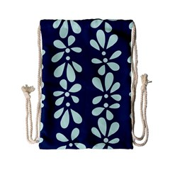 Star Flower Floral Blue Beauty Polka Drawstring Bag (small) by Mariart