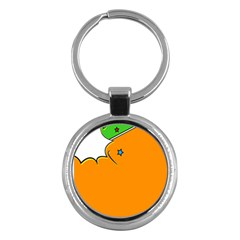 Star Line Orange Green Simple Beauty Cute Key Chains (round)  by Mariart