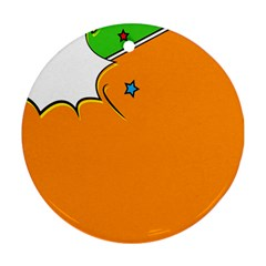Star Line Orange Green Simple Beauty Cute Round Ornament (two Sides) by Mariart