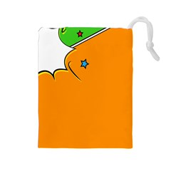 Star Line Orange Green Simple Beauty Cute Drawstring Pouches (large)  by Mariart