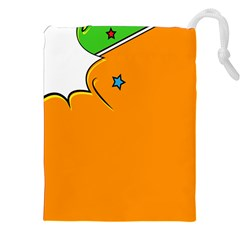 Star Line Orange Green Simple Beauty Cute Drawstring Pouches (xxl) by Mariart