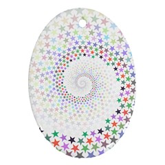 Prismatic Stars Whirlpool Circlr Rainbow Ornament (oval) by Mariart