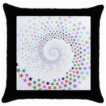 Prismatic Stars Whirlpool Circlr Rainbow Throw Pillow Case (Black) Front