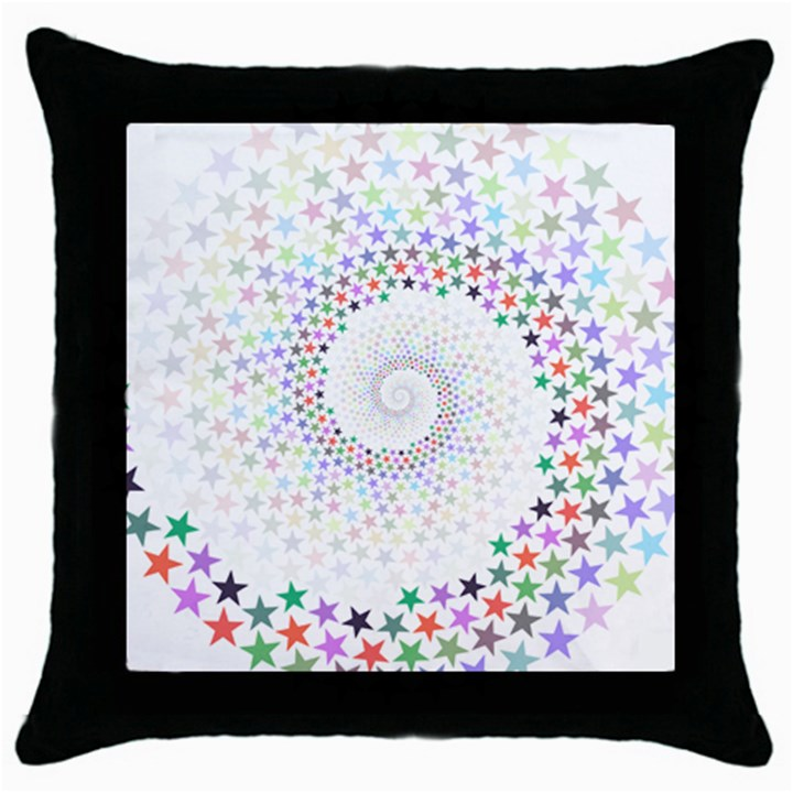 Prismatic Stars Whirlpool Circlr Rainbow Throw Pillow Case (Black)