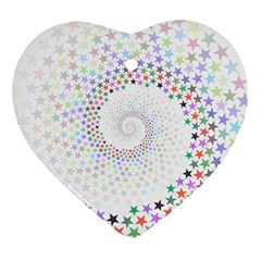 Prismatic Stars Whirlpool Circlr Rainbow Heart Ornament (two Sides) by Mariart