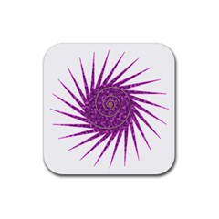 Spiral Purple Star Polka Rubber Square Coaster (4 Pack)  by Mariart