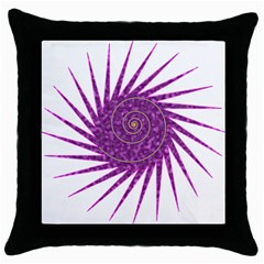 Spiral Purple Star Polka Throw Pillow Case (black) by Mariart