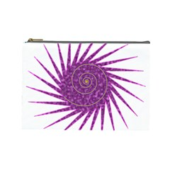 Spiral Purple Star Polka Cosmetic Bag (large)  by Mariart