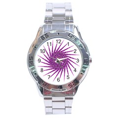 Spiral Purple Star Polka Stainless Steel Analogue Watch by Mariart