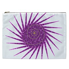 Spiral Purple Star Polka Cosmetic Bag (xxl)  by Mariart