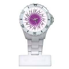 Spiral Purple Star Polka Plastic Nurses Watch by Mariart