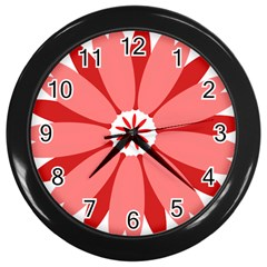 Sunflower Flower Floral Red Wall Clocks (black)