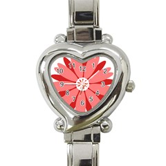 Sunflower Flower Floral Red Heart Italian Charm Watch by Mariart