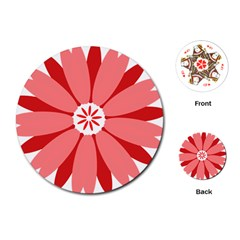 Sunflower Flower Floral Red Playing Cards (round)  by Mariart