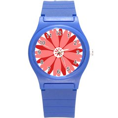 Sunflower Flower Floral Red Round Plastic Sport Watch (s) by Mariart