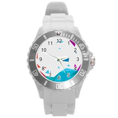 Triangle Chevron Colorfull Round Plastic Sport Watch (l) by Mariart