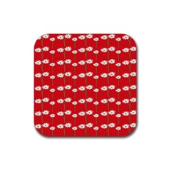 Sunflower Red Star Beauty Flower Floral Rubber Square Coaster (4 Pack)  by Mariart