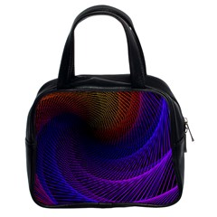 Striped Abstract Wave Background Structural Colorful Texture Line Light Wave Waves Chevron Classic Handbags (2 Sides) by Mariart