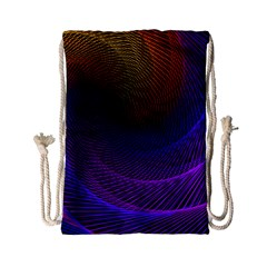 Striped Abstract Wave Background Structural Colorful Texture Line Light Wave Waves Chevron Drawstring Bag (small) by Mariart