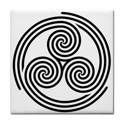Triple Spiral Triskelion Black Tile Coasters by Mariart