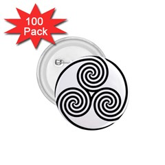 Triple Spiral Triskelion Black 1 75  Buttons (100 Pack)  by Mariart