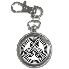 Triple Spiral Triskelion Black Key Chain Watches by Mariart