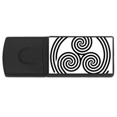 Triple Spiral Triskelion Black Rectangular Usb Flash Drive by Mariart