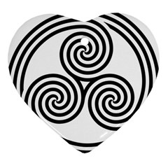 Triple Spiral Triskelion Black Heart Ornament (two Sides)