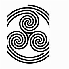 Triple Spiral Triskelion Black Large Garden Flag (two Sides) by Mariart