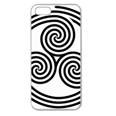 Triple Spiral Triskelion Black Apple Seamless Iphone 5 Case (clear) by Mariart