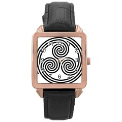 Triple Spiral Triskelion Black Rose Gold Leather Watch  by Mariart