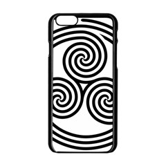 Triple Spiral Triskelion Black Apple Iphone 6/6s Black Enamel Case by Mariart