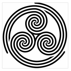 Triple Spiral Triskelion Black Large Satin Scarf (square) by Mariart